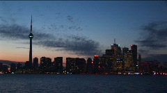 A spectacular sky during golden-hour with the CN-Tower and downtown Stock Footage