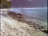 Stock Video Footage of Gentle waves roll onto a tropical beach in American Samoa.
