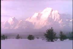 The Grand Tetons rise in the fog above a snowy meadow. Stock Footage