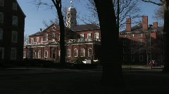 The camera pans across Harvard University' historic campus. Stock Footage