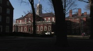 Stock Video Footage of The camera pans across Harvard University' historic campus.