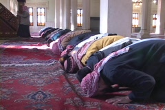 A group of Muslim men pray in a mosque in Baghdad. - stock footage
