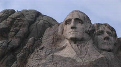 George Washington in this close-up view of Mt Rushmore Stock Footage