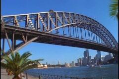 Sydney Harbor Bridge crosses Jackson Port in the Sydney Harbor. Stock Footage