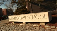 Stock Video Footage of The Harvard Law School sign.
