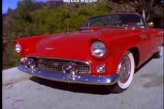 A classic Ford Thunderbird car is parked on a street below the Hollywood Sign in Stock Footage