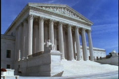 Steps lead to the entrance of the United States Supreme Court building in Stock Footage