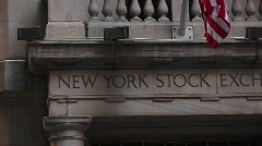 Pan across the New York stock exchange building. Stock Footage