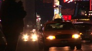 A busy intersection in New York City after dark. Stock Footage
