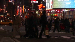 A colorful night scene in downtown New York. Stock Footage