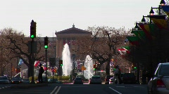 Philadelphia's Benjamin Franklin Parkway leading up to the Museum Stock Footage