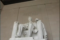The seated sculpture of Abraham Lincoln marks  the Lincoln Memorial Monument in Stock Footage