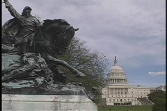 The Calvary Charge statue rests in front of the United States Capitol Building. Stock Footage