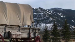 Different views of a covered wagon on the prairie Stock Footage
