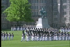 Cadets at West Point march in full military dress uniform. - stock footage