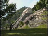 Stock Video Footage of The Temple of Inscriptions, a Mayan Temple in Palenque, Mexico, looms over the