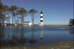 The calm waters off Cape Hatteras reflect the historical Bodie Island Stock Footage
