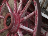 Stock Video Footage of A worn covered wagon wheel