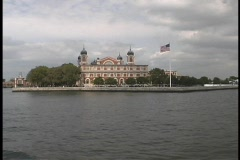 The American Flag on Ellis Island blows in the wind. Stock Footage