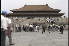 People visit the ancient Imperial Palace of Tiananmen Square. Stock Footage