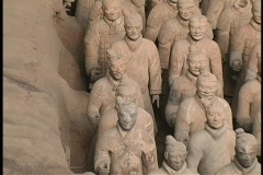 Terracotta soldiers adorn a mausoleum made by  Emperor Qin Shi Huang. Stock Footage