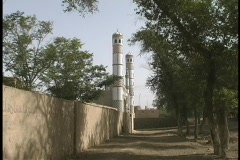 A palace gate towers over the Silk Road. Stock Footage