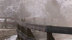 Walkways in winter near the hot springs in Yellowstone National Park Stock Footage