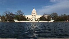 Zooming across the Reflecting Pool in Washington, DC and ending Stock Footage