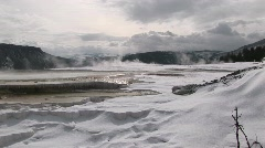 A panoramic view of steamy hot springs in winter Stock Footage