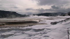 Wide shot of a hot springs' terraces in winter Stock Footage