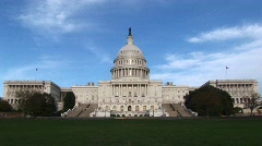 From a long-shot of the eastern facade of the U.S. Capitol building Stock Footage