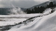 Steam rising from the hot springs' terraces Stock Footage