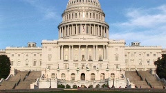 Panning up on the U.S. Capitol building in Washington, DC from - stock footage