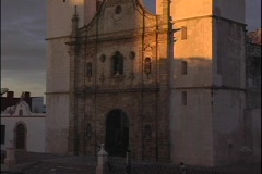 A spectacular shot of the facade of the Cathedral in Campeche, Mexico at sunset. Stock Footage