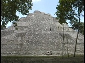 Stock Video Footage of The Becan pyramid is the tallest structure in the Becan, Campeche ruin complex.