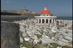 The San Juan cemetery is seen from the top of el Moro Fort. Stock Footage