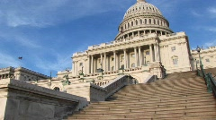 Looking up the steps of the U.S. Capitol building in Washington, Stock Footage