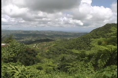 Fluffy white clouds gather above the lush, green Puerto Rican hills. Stock Footage