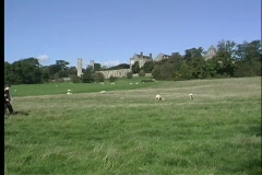 School children walk home over the gentle slopes of the Cotswold's hills in Stock Footage