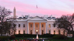 The camera zooms in on the beautiful White House entrance. Stock Footage