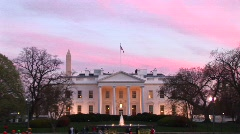 Looking at the well-lit White House on a late wintry afternoon Stock Footage