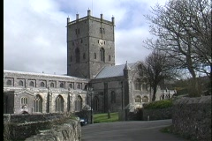A picturesque view of St. David's Cathedral in Pembrokeshire, Wales. Stock Footage