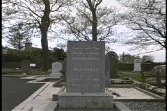 William Butler Yeats' tomb marker adorns a cemetery in Ireland. Stock Footage