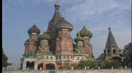 A medium shot of domes and spires of the St. Basils Russian Orthodox Church in Stock Footage