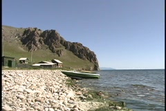 Waves lap along the shoreline of Lake Baikal in Russia. Stock Footage