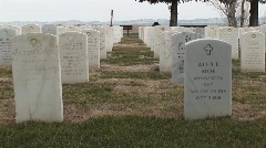 Rows of white headstones in an old military cemetery Stock Footage