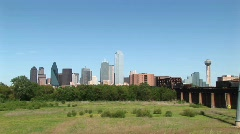 Long-shot of the Dallas city skyline. Stock Footage
