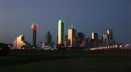 Stock Video Footage of Skyscrapers highlight the downtown Dallas, TX skyline.