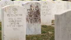 Headstones of military wives at Arlington National Cemetery - stock footage