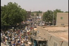 Market day in Djenne, Mali a small village in Africa. Stock Footage